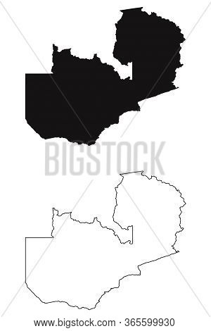 Zambia Country Map. Black Silhouette And Outline Isolated On White Background. Eps Vector