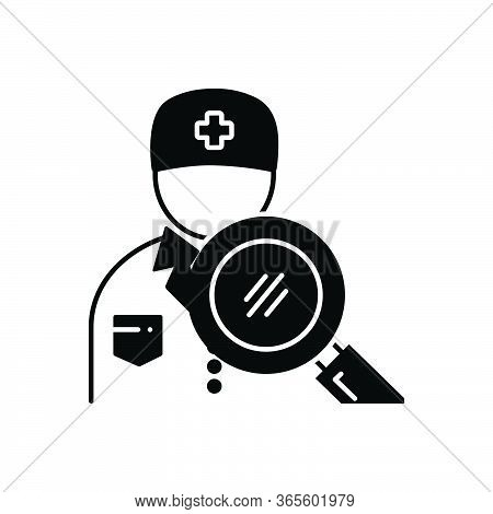 Black Solid Icon For Doctor-search Professional Paramedic Doctor Magnifying