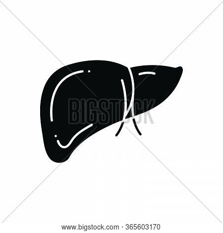 Black Solid Icon For Hepatology Anthropomorphic Treatment Hepatic Cirrhosis