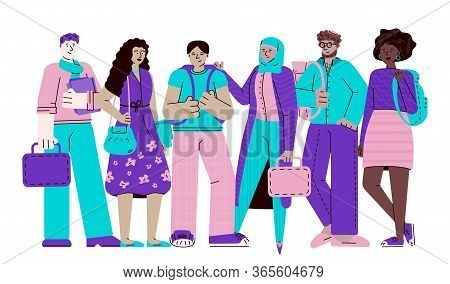 Group Of Multi-ethnic Young Students Sketch Cartoon Vector Illustration Isolated.