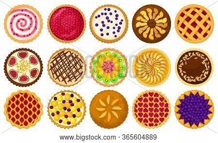Cake Top View Vector Illustration On White Background. Vector Cartoon Set Icon Cupcake. Isolated Car