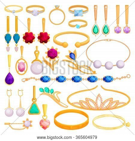 Gold Jewelry Vector Cartoon Set Icon. Vector Illustration Jewellery On White Background. Isolated Ca