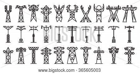Electric Poles Vector Black Set Icon. Vector Illustration Electrical Pillar On White Background. Iso