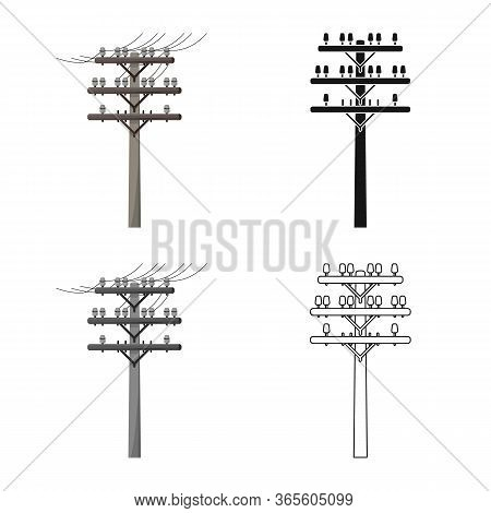 Isolated Object Of Pillar And Wooden Sign. Graphic Of Pillar And Electrical Stock Symbol For Web.