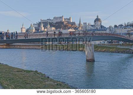 Salzburg, Austria, February 22, 2020: A Lot Of Colorful Love Locks On Makartsteg Bridge Over Salzach