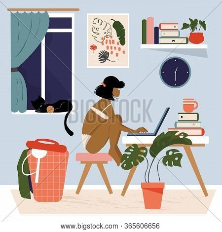 Work At Home Concept Design. A Woman Working At Her Desk At Home Wearing Underwear Only. Busy Female