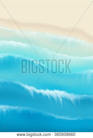 Top View On Sea Sandy Beach. Realistic Aerial View On Foamy Sea Waves Splashing On Sandy Coast. Vect
