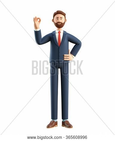 Portrait Of Smiling Happy Businessman Showing Ok Gesture. 3d Illustration Of Cartoon Standing Man In
