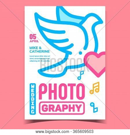 Wedding Photography Advertising Banner Vector. Dove Pigeon Bird, Heart And Music Notes On Ceremonial