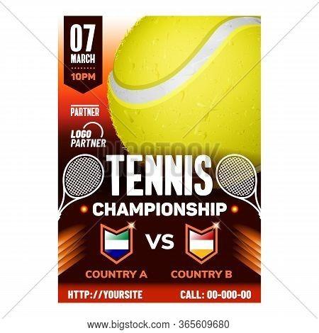 Tennis Racket Sport Championship Banner Vector. International Tennis Federation, Gaming Yellow Ball