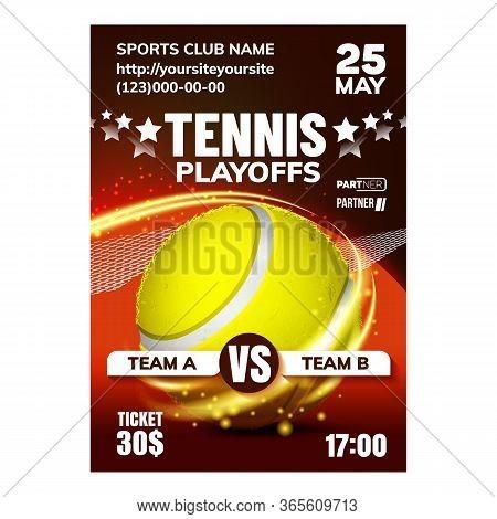 Tennis Sport Racquet Game Set Match Banner Vector. Tennis Striped Ball And Racket Equipment For Acti