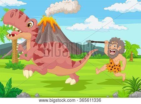 Vector Illustration Of Cartoon Caveman Chasing A Dinosaur
