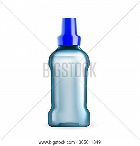 Mouthwash Hygiene Liquid Blank Package Vector. Mouthwash Fluid With Analgesic, Anti-inflammatory Or