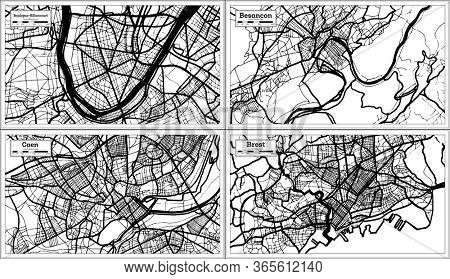Caen, Besancon, Brest and Boulogne-Billancourt France City Maps Set in Black and White Color in Retro Style. Outline Map.