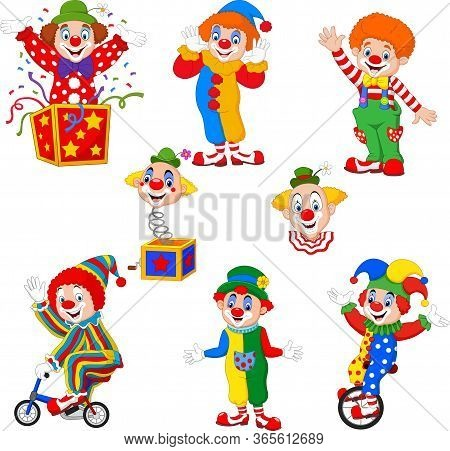 Vector Illustration Of Set Of Cartoon Happy Clowns In Different Poses
