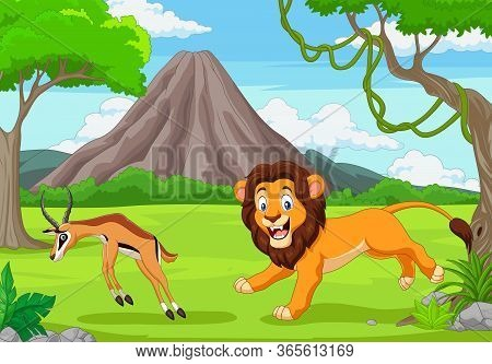 Vector Illustration Of The Lion Is Chasing An Impala In An African Savanna