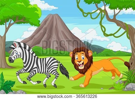Vector Illustration Of The Lion Is Chasing A Zebra In An African Savanna