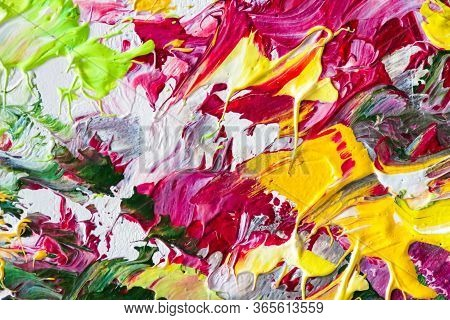 Colorful Oil Painting On Canvas. Abstract Art Background. Fragment Of Modern Artwork. Brush Strokes