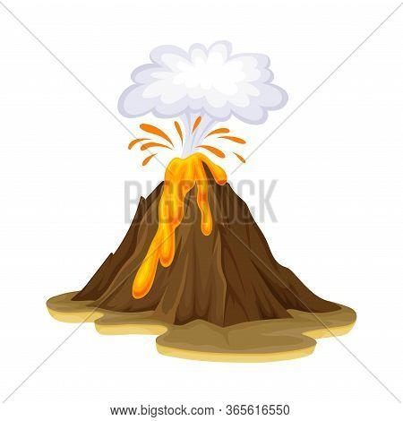 Volcanic Eruption With Flowing Lava As Natural Cataclysm Vector Illustration