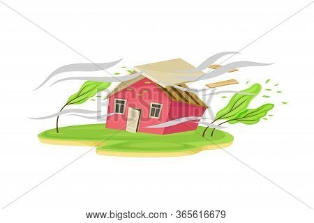 Severe Wind As Natural Cataclysm Blowing Carrying Away House Roof Vector Illustration