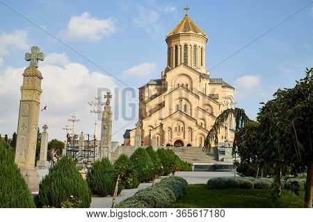 Tbilisi, Georgia - October 21, 2019: Big Orthodox Cathedral St. Trinity Or Chirch Sameba In Tbilisi