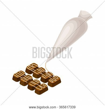 Piping Bag With Pastry Decorating Chocolate Sweets Vector Illustration