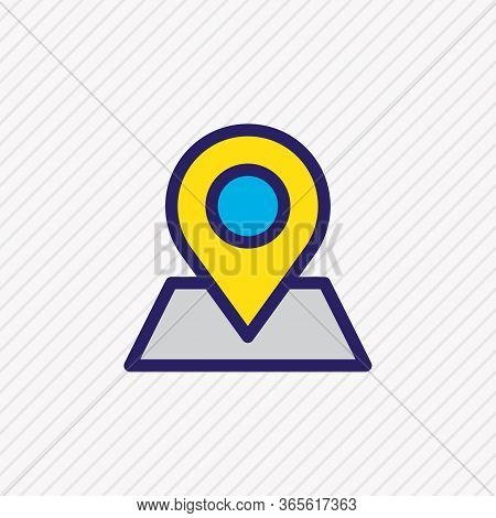 Vector Illustration Of Pinpoint Icon Colored Line. Beautiful Community Element Also Can Be Used As L