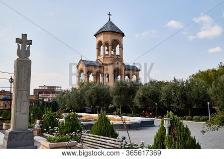 Tbilisi, Georgia - October 21, 2019: Belfry Near Big Orthodox Cathedral St. Trinity Or Chirch Sameba