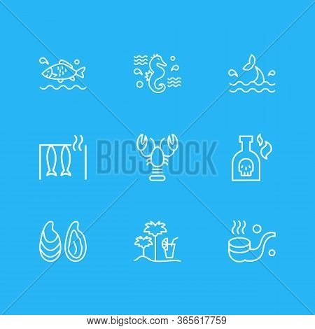 Illustration Of 9 Maritime Icons Line Style. Editable Set Of Smoking Pipe, Lobster, Smoked Fish And