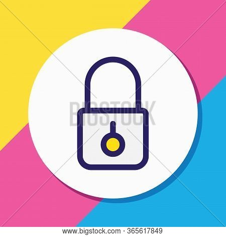 Illustration Of Lock Icon Colored Line. Beautiful Bureau Element Also Can Be Used As Closed Icon Ele