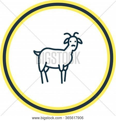 Illustration Of Goat Icon Line. Beautiful Animals Element Also Can Be Used As Ungulate Icon Element.