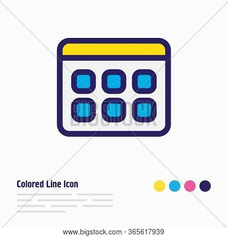 Illustration Of Calendar Icon Colored Line. Beautiful Bureau Element Also Can Be Used As Date Icon E