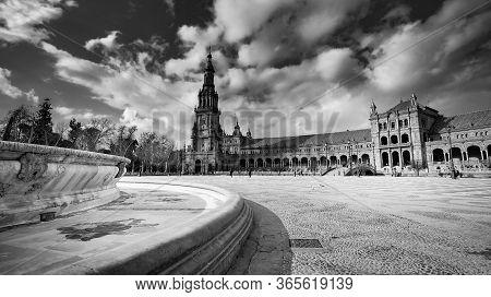 Seville, Spain - 10 February 2020 : Plaza De Espana Spain Square Architecture In Beautiful Seville S