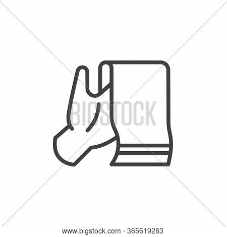 Hand With Towel Line Icon. Linear Style Sign For Mobile Concept And Web Design. Dry Hands Outline Ve