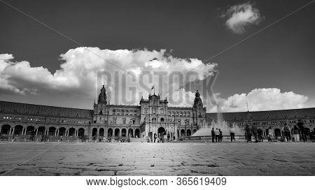 Seville, Spain - 10 February 2020 :black And White Photography Of Plaza De Espana Spain Square Archi