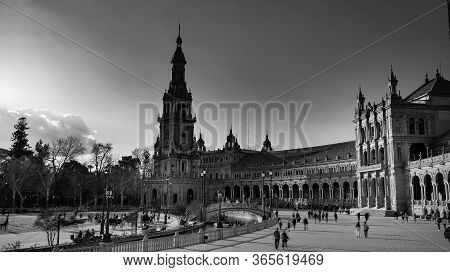 Seville, Spain - 10 February 2020 : Black And White Photography Of Plaza De Espana Spain Square With