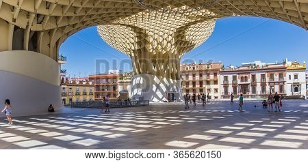 Sevilla, Spain - May 14, 2019: Panorama Of The Modern Architecture Of The Metropol Parasol In Sevill