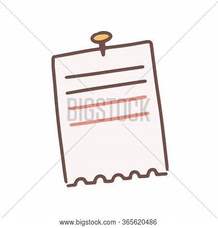 Cartoon Lined Note Paper Attached With Drawing Pin Vector Flat Illustration. Reminder Detached Notep