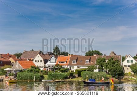 Schleswig, Germany - June 25, 2019: Boat At The Schlei River In Holm Village Of Schleswig, Germany