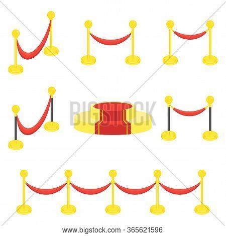 Fence Posts With Rope For Red Carpet Of Honor. Red Carpet For Holiday Greeting Ceremonies. Award, Ho