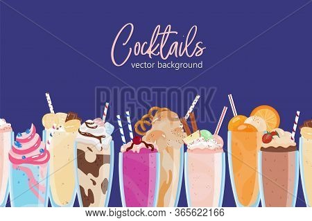 Composition Of Delicious Milkshakes In Glasses Vector Flat Illustration Background. Many Refreshing