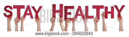 People Hands Holding Word Stay Healthy, Isolated Background