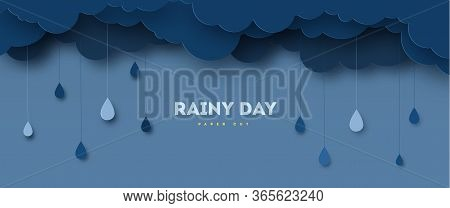 Illustration Of Cloud And Rain On Dark Background. Heavy Rain, Rainy Season, Paper Cut And Craft Sty