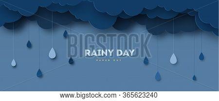 Illustration Of Cloud And Rain On Dark Background. Heavy Rain, Rainy Season, Paper Cut And Craft Sty