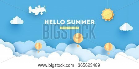 Summer Paper Applique Of Symbols, Sign And Objects With Text Illustrate The Greeting Of The Summerti