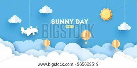 Cloudscape , Blue Sky With Clouds And Sun , Paper Art Style. Concept. Paper Cut Design With Balloons