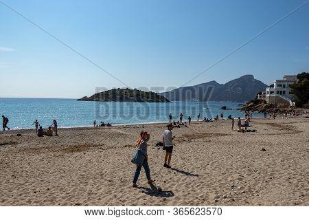 Sant Elm, Mallorca, Spain - April 12, 2019: Beautiful Beach Bay Turqoise Sea Water, Sant Elm, Mallor