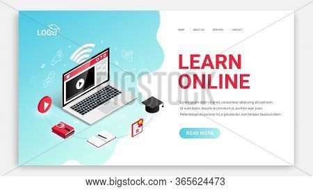 Learn Online, Distance Education Isometric Landing Page Web Design Template. 3d Laptop, Symbol Of Vi