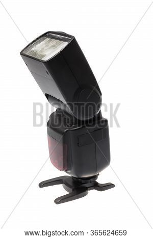 Side Look Of A Dslr Camera Speedlite Flash On Its Stand, Isolated On White Background