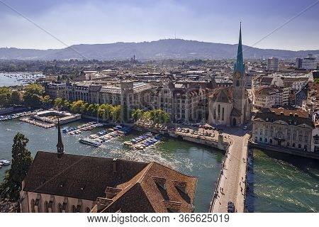 Cityscape Of Zurich, Switzerland, Taken From The Grossmünster Church Tower.